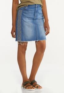 Plus Size Embroidered Denim Skirt