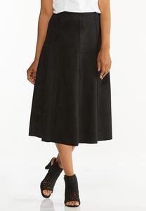 Plus Size Faux Suede Midi Skirt