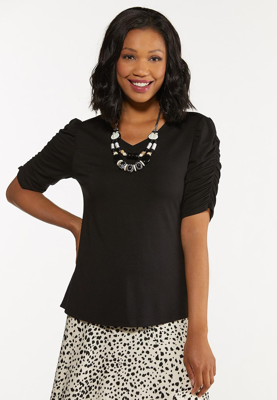 Plus Size Solid Ruched Sleeve Tee