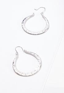 Flat Hammered Metal Hoop Earrings