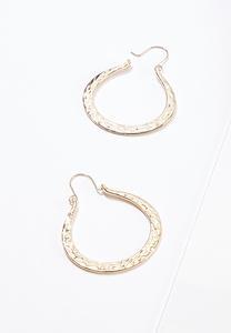 Hammered Flat Hoop Earrings
