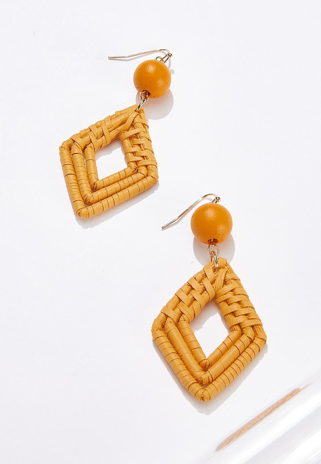 Gold Raffia Diamond Earrings