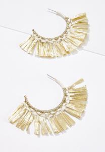 Raffia Fringe Hoop Earrings