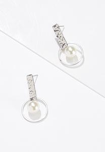 Hammered Post Pearl Earrings