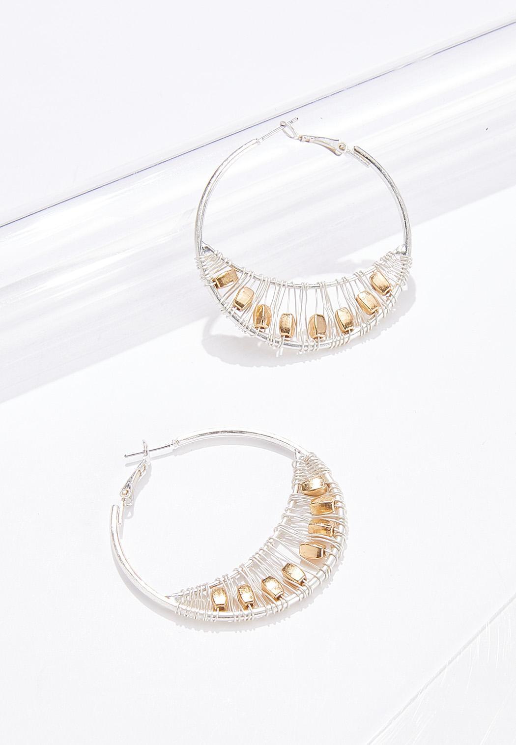 Beaded Wire Wrap Hoop Earrings