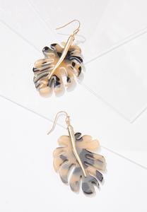 Resin Palm Leaf Earrings
