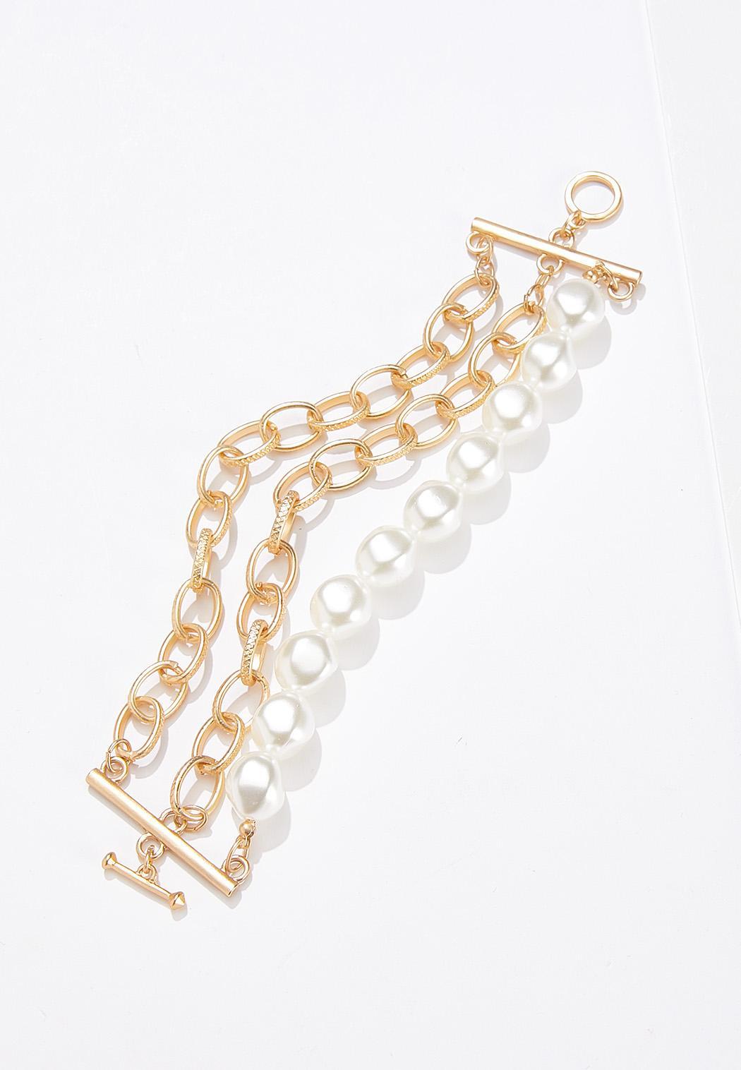Layered Chain Pearl Bracelet