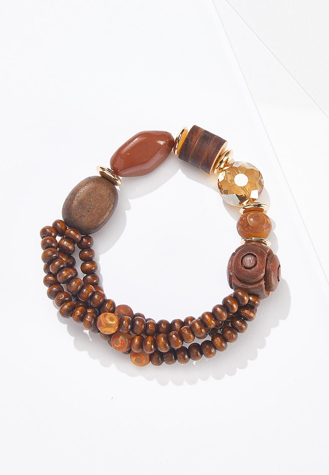 Glass Bead Wood Stretch Bracelet