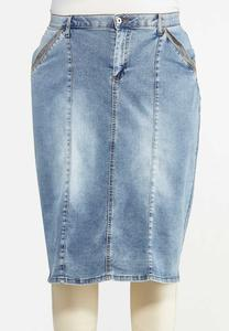 Plus Size Utility Denim Skirt