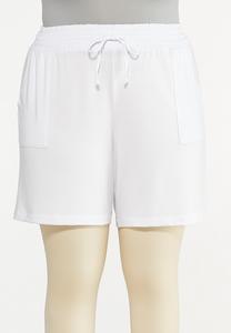 Plus Size White Smocked Shorts