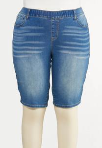 Plus Size Stretch Denim Shorts