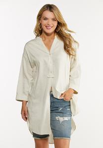 Plus Size Natural Linen Tunic