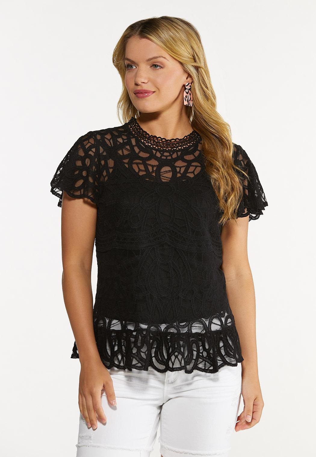 Plus Size Solid Mesh Embroidered Top
