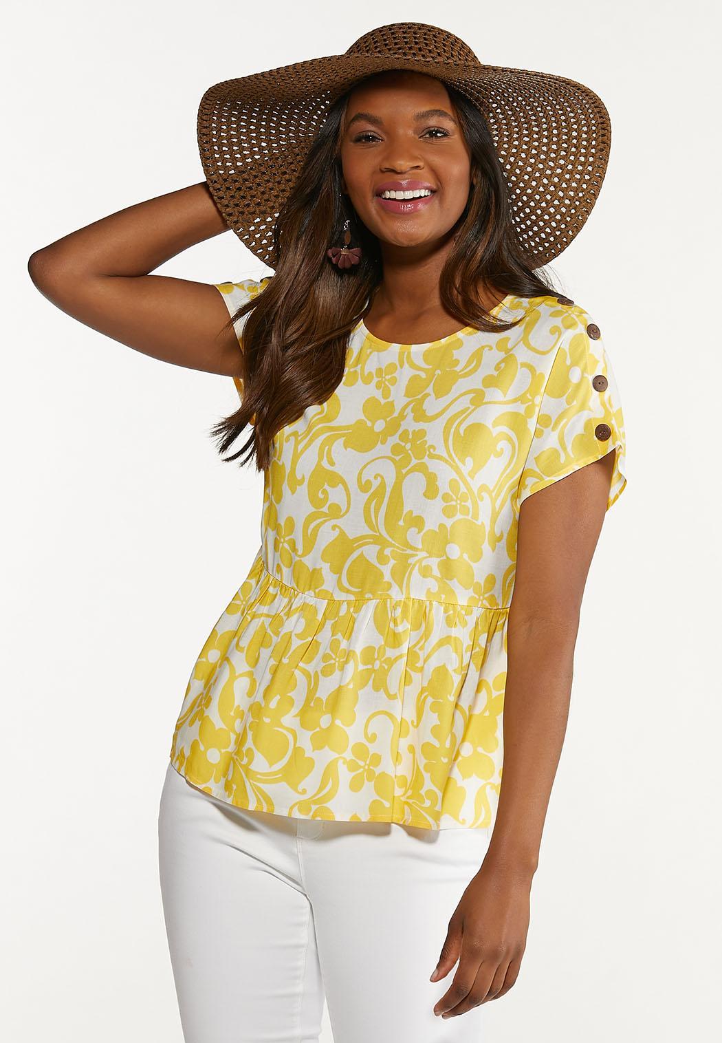 Plus Size Sunny Floral Peplum Top