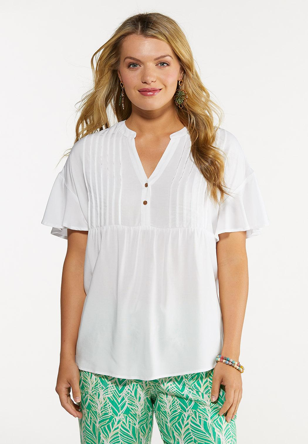 Plus Size White High-Low Top
