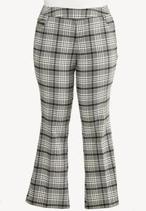 Plus Size Black Plaid Pants
