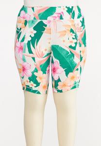 Plus Size Tropical Biker Shorts