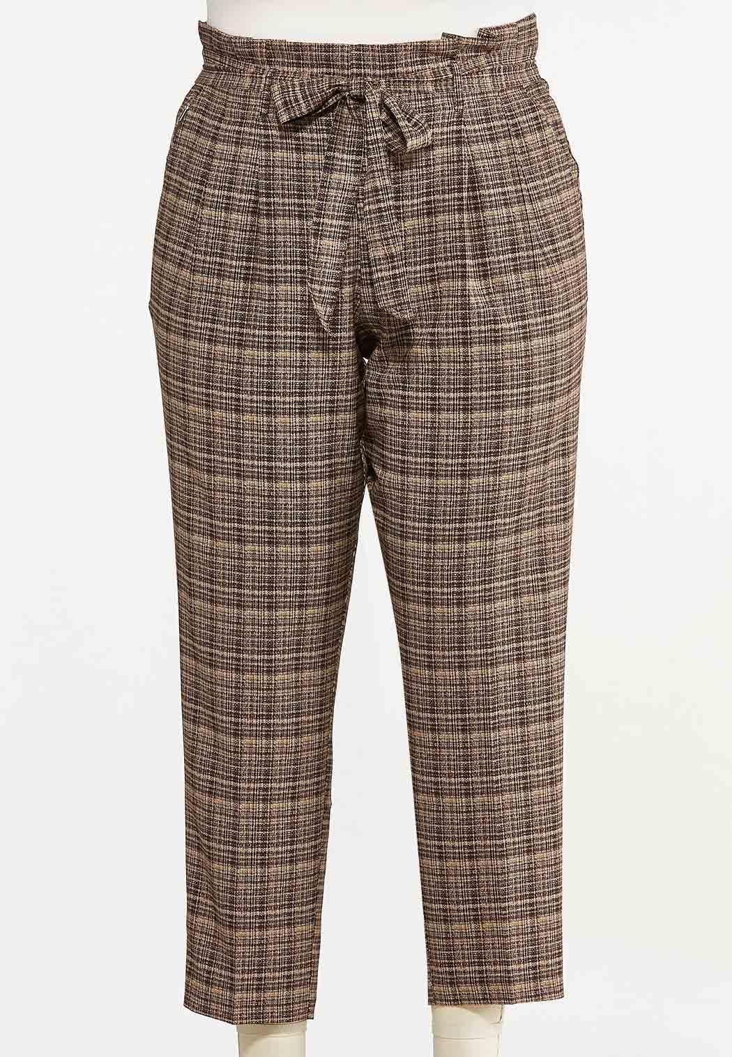 Plus Size Brown Marled Tie Waist Pants