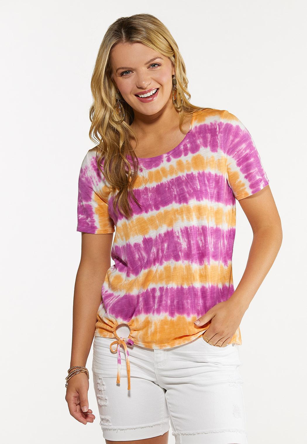 Plus Size Tie Dye Cinch Hem Top