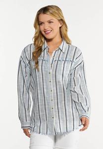 Plus Size Frayed Stripe Shirt