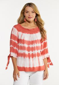 Plus Size Coral Tie Dye Poet Top