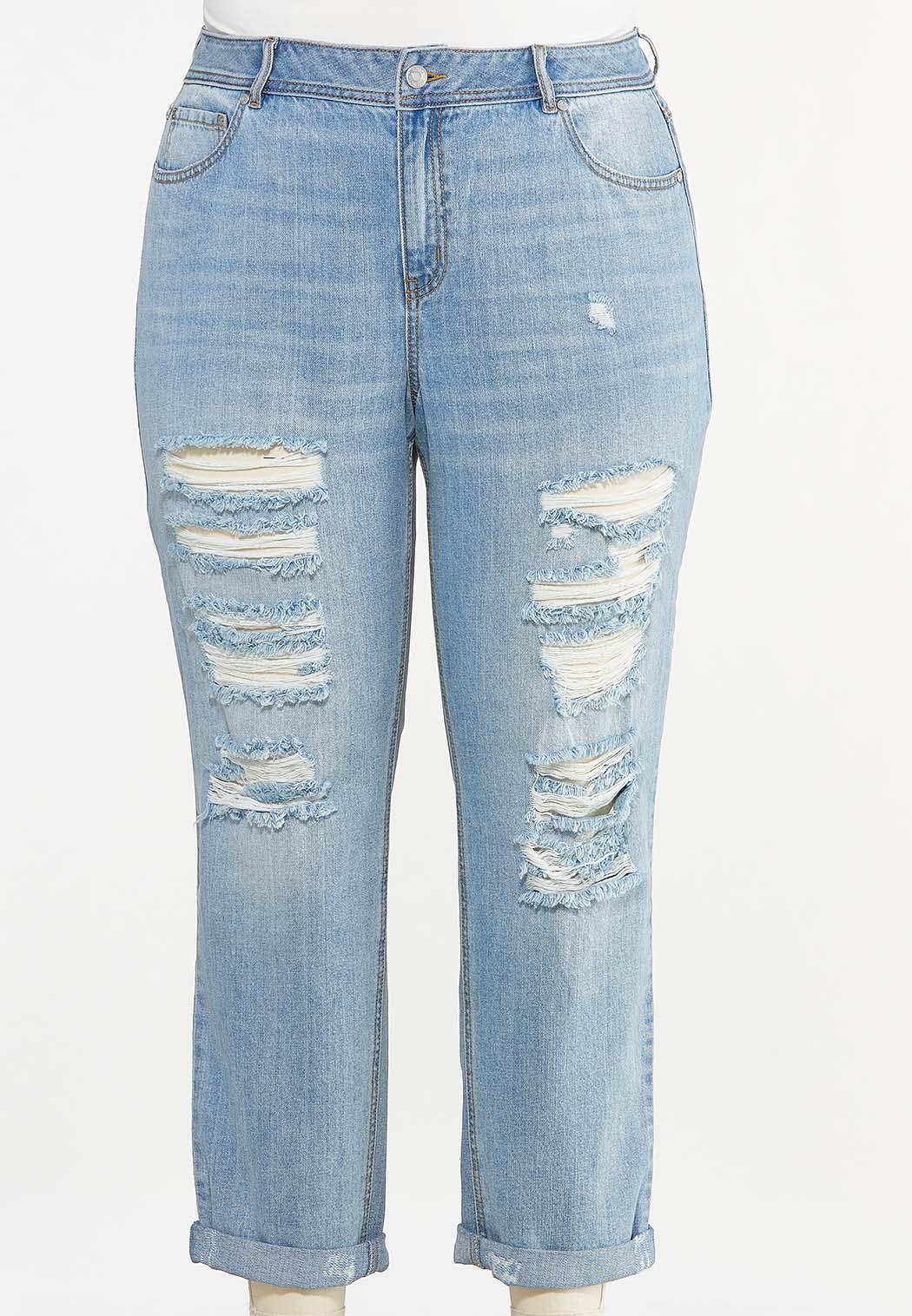 Plus Size Distressed Boyfriend Jeans