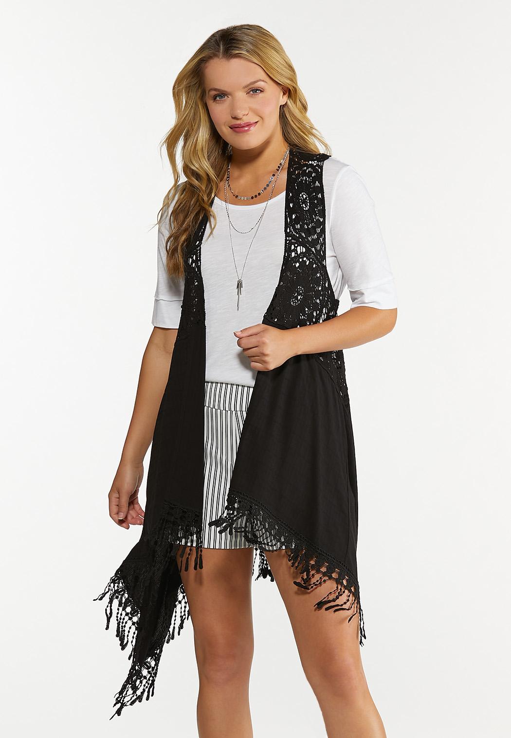 Plus Size Black Crochet Vest