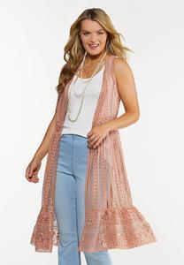 Plus Size Ruffled Crochet Vest