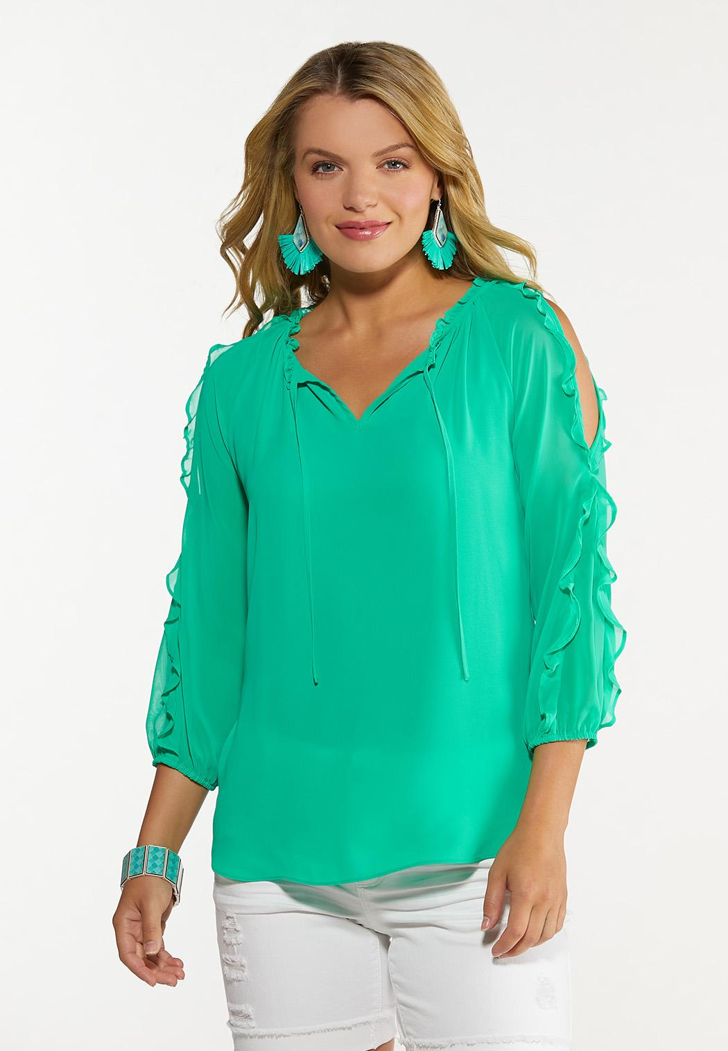 Plus Size Ruffled Sleeve Top