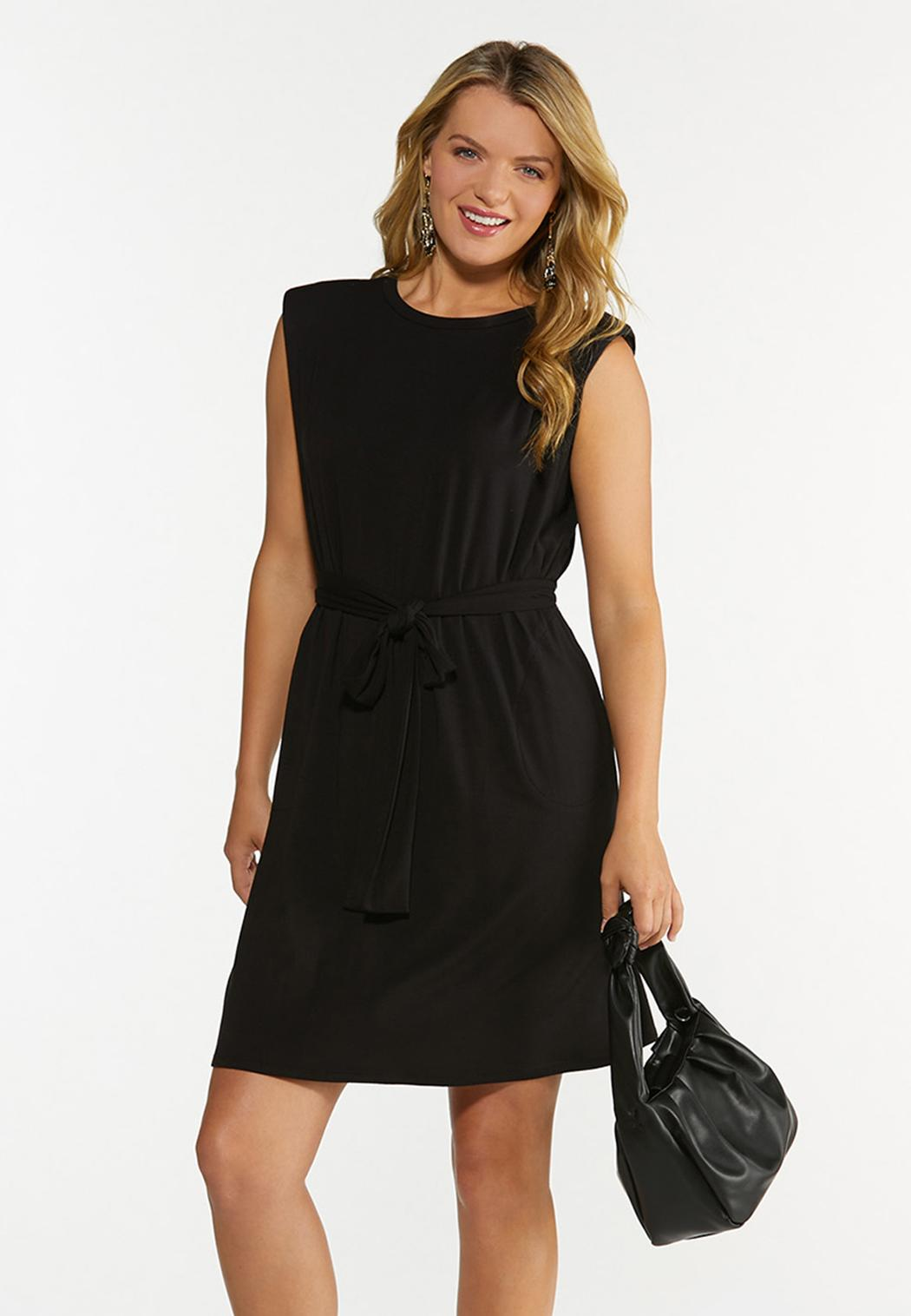 Plus Size Black Padded Shoulder Dress