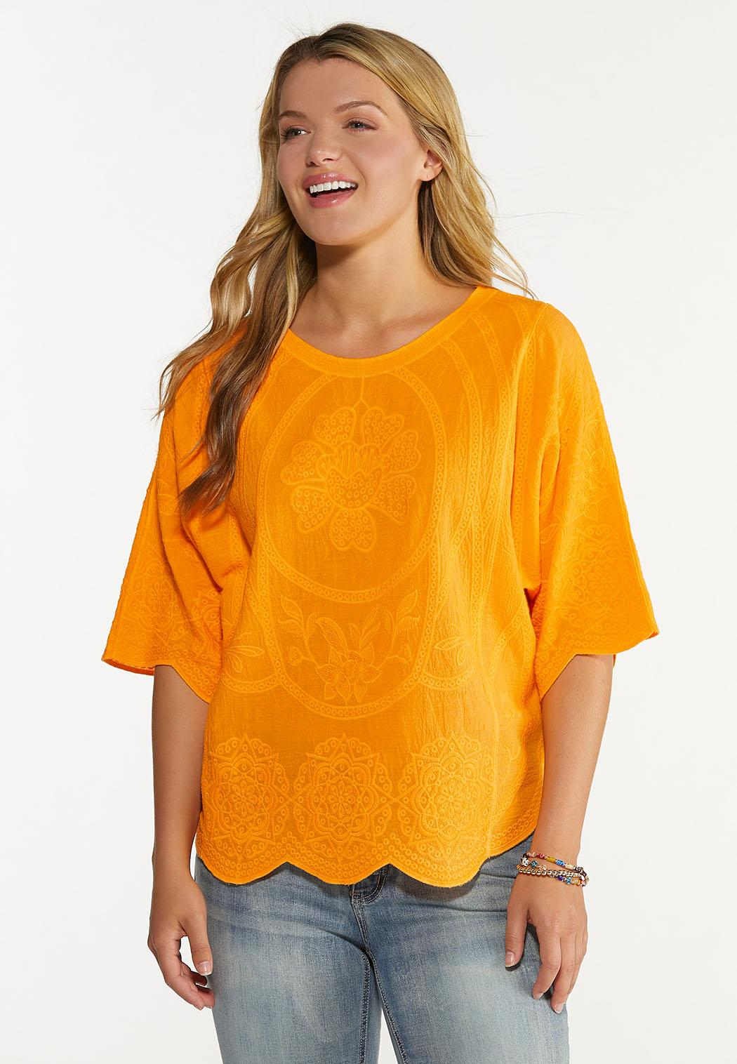 Plus Size Embroidered Scalloped Top