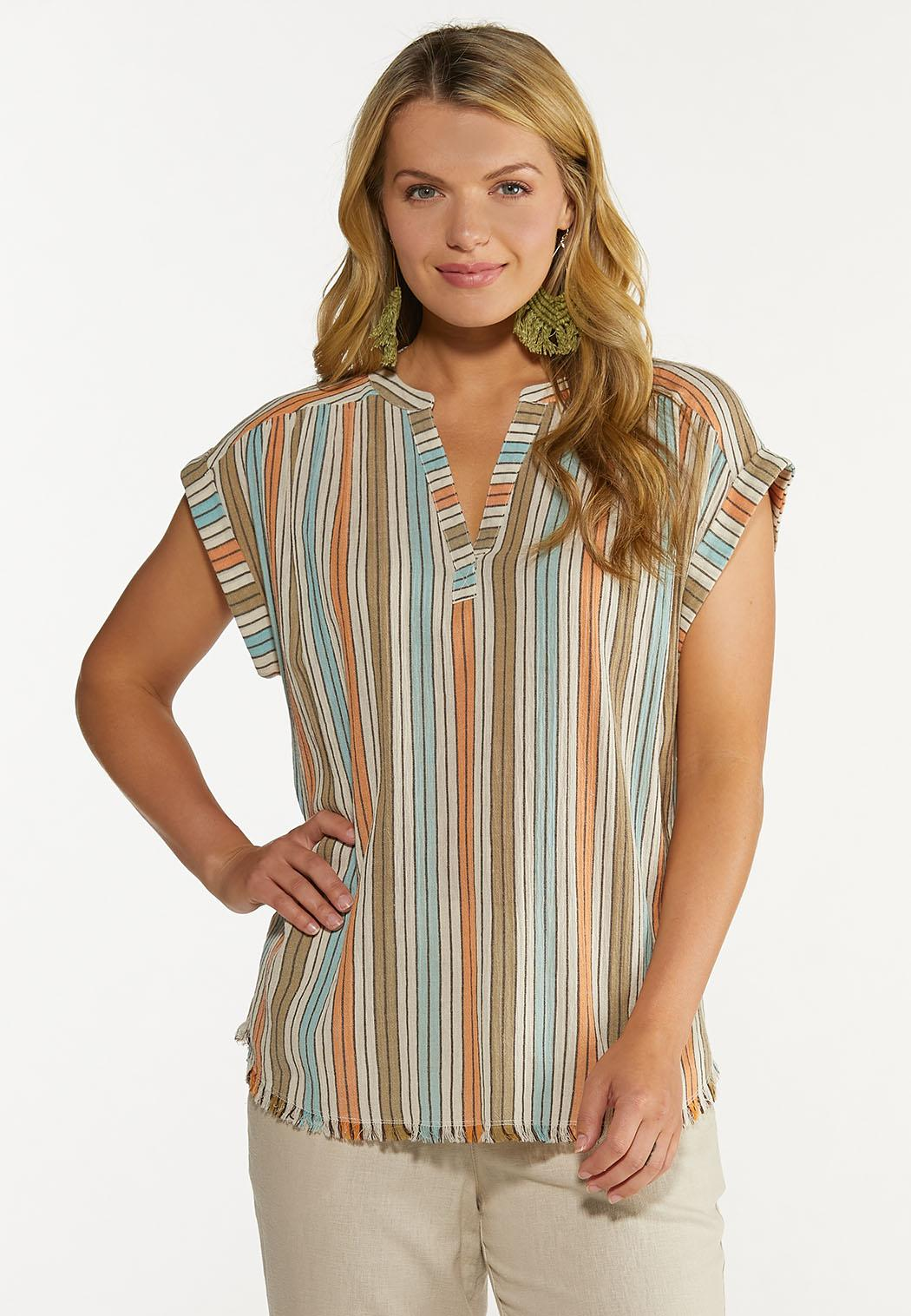 Plus Size Muted Stripe Top