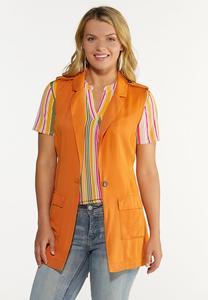 Plus Size Orange Belted Vest