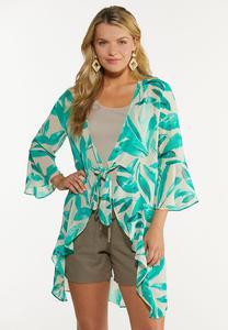 Plus Size Tropical Tie Front Kimono
