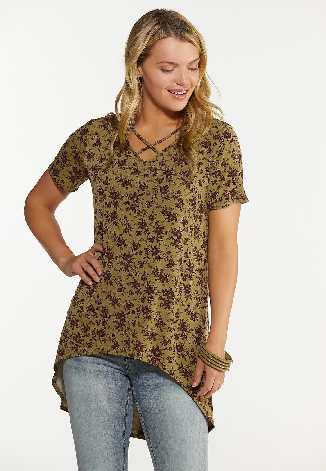 Plus Size Olive Floral Tunic