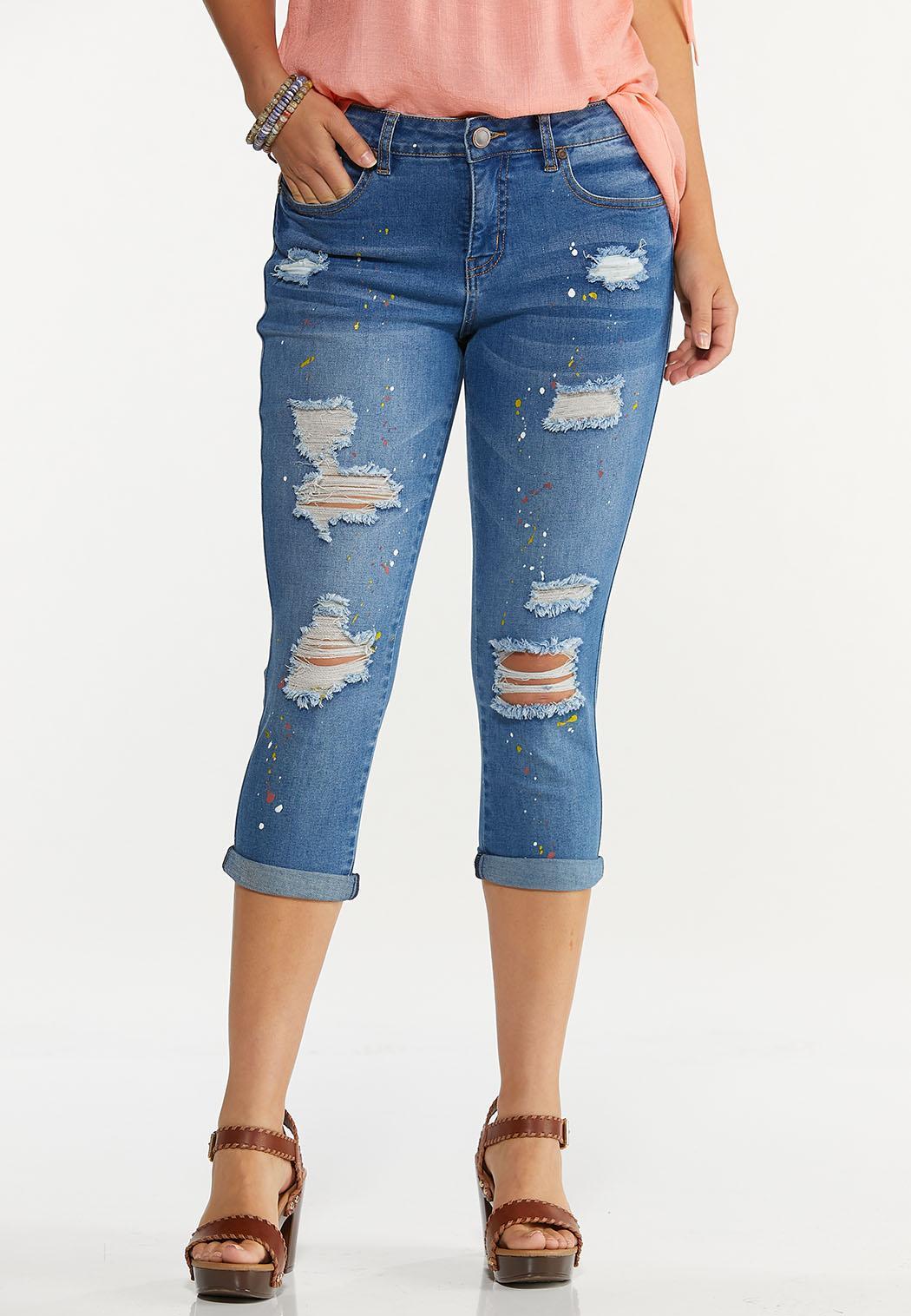 Cropped Paint Splatter Jeans