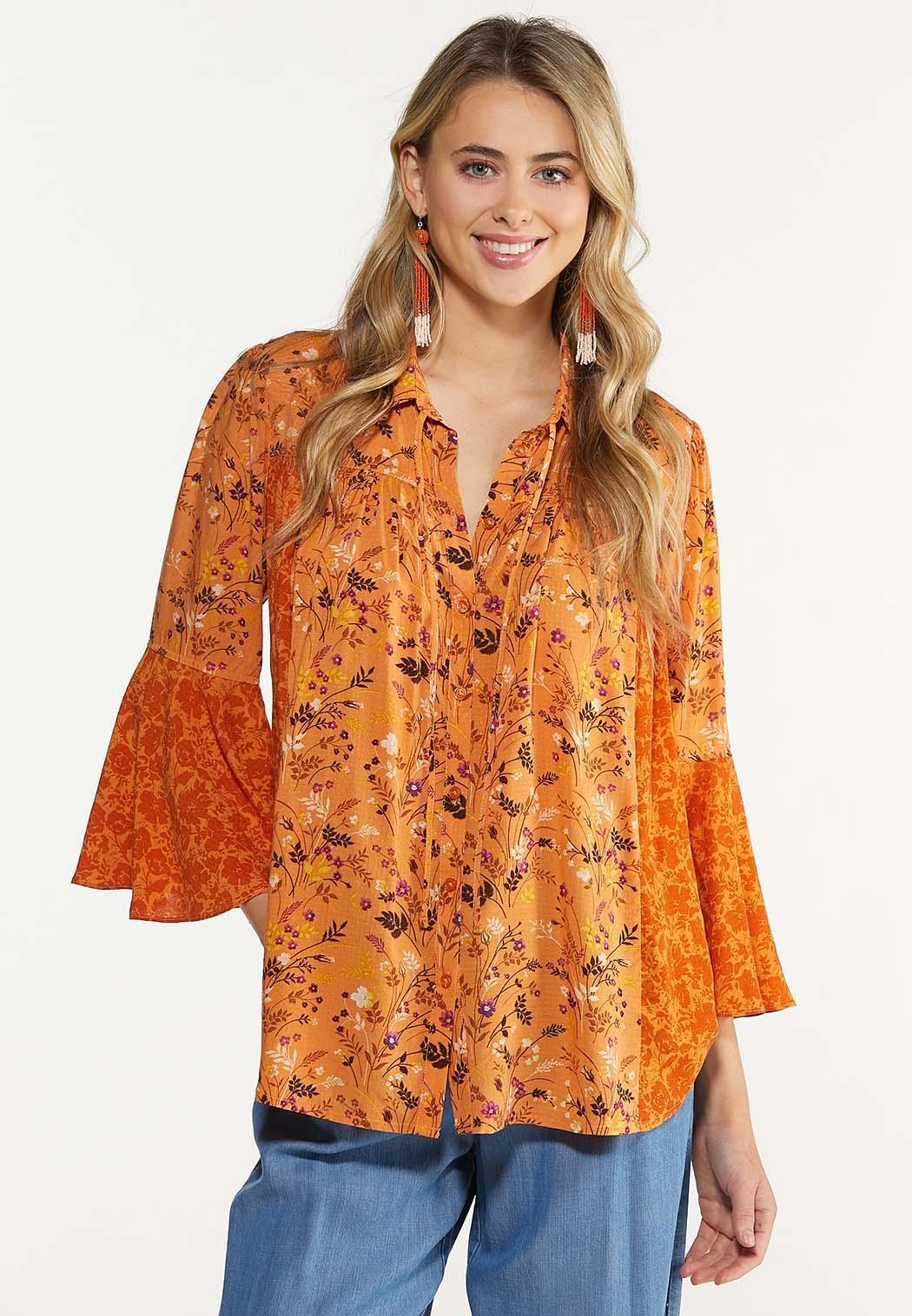 Orange Floral Poet Top