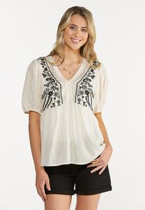 Plus Size Embroidered Babydoll Top