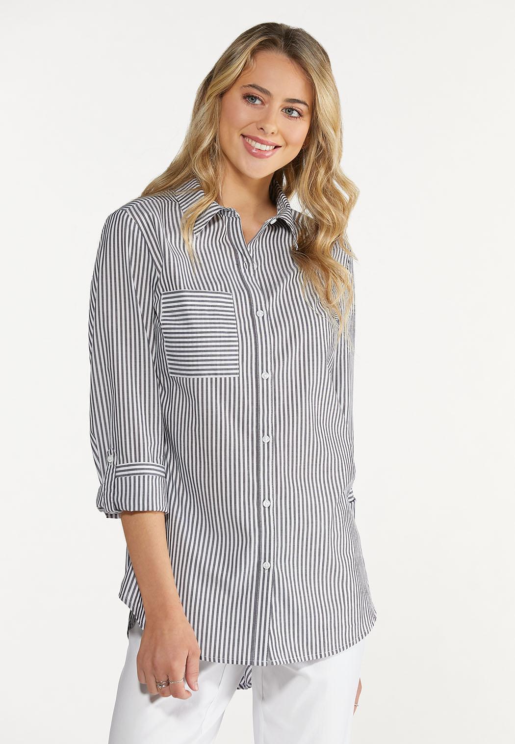 Plus Size Striped Button Down Shirt