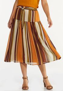 Plus Size Stripe Crinkled Chiffon Skirt