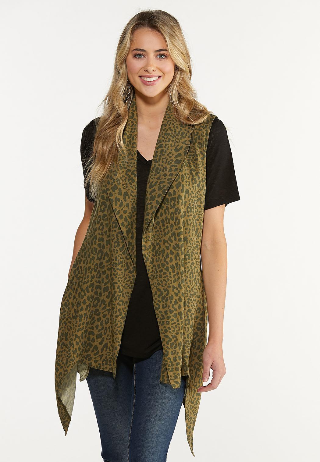 Plus Size Belted Leopard Cardigan