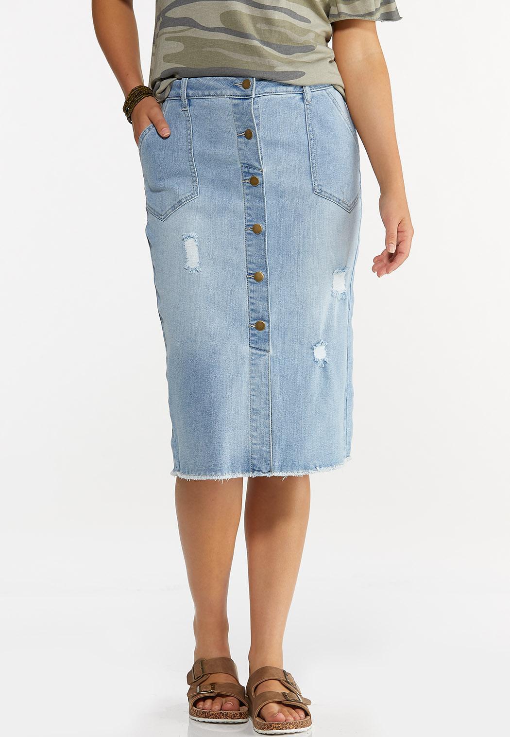 Distressed Button Front Denim Skirt