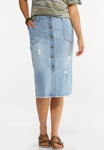 Plus Size Distressed Button Front Denim Skirt