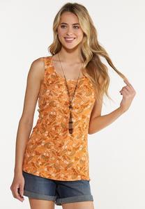 Plus Size Orange Floral Paisley Tank
