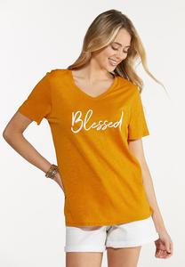 Plus Size Solid Blessed Tee