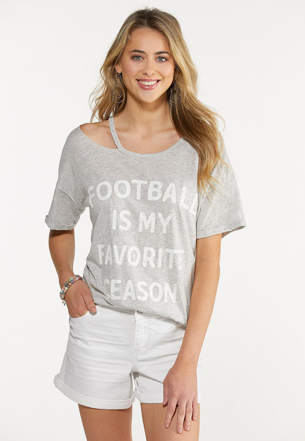 Plus Size Football Season Cold Shoulder Tee