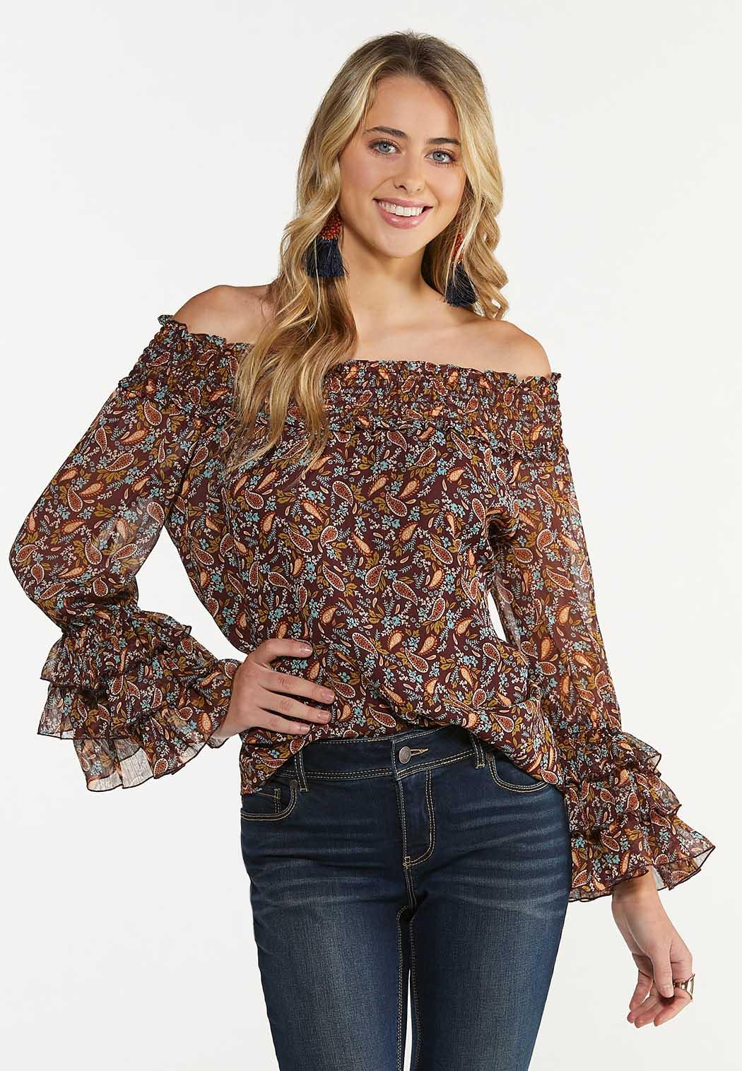 Plus Size Ruffled Off Shoulder Top
