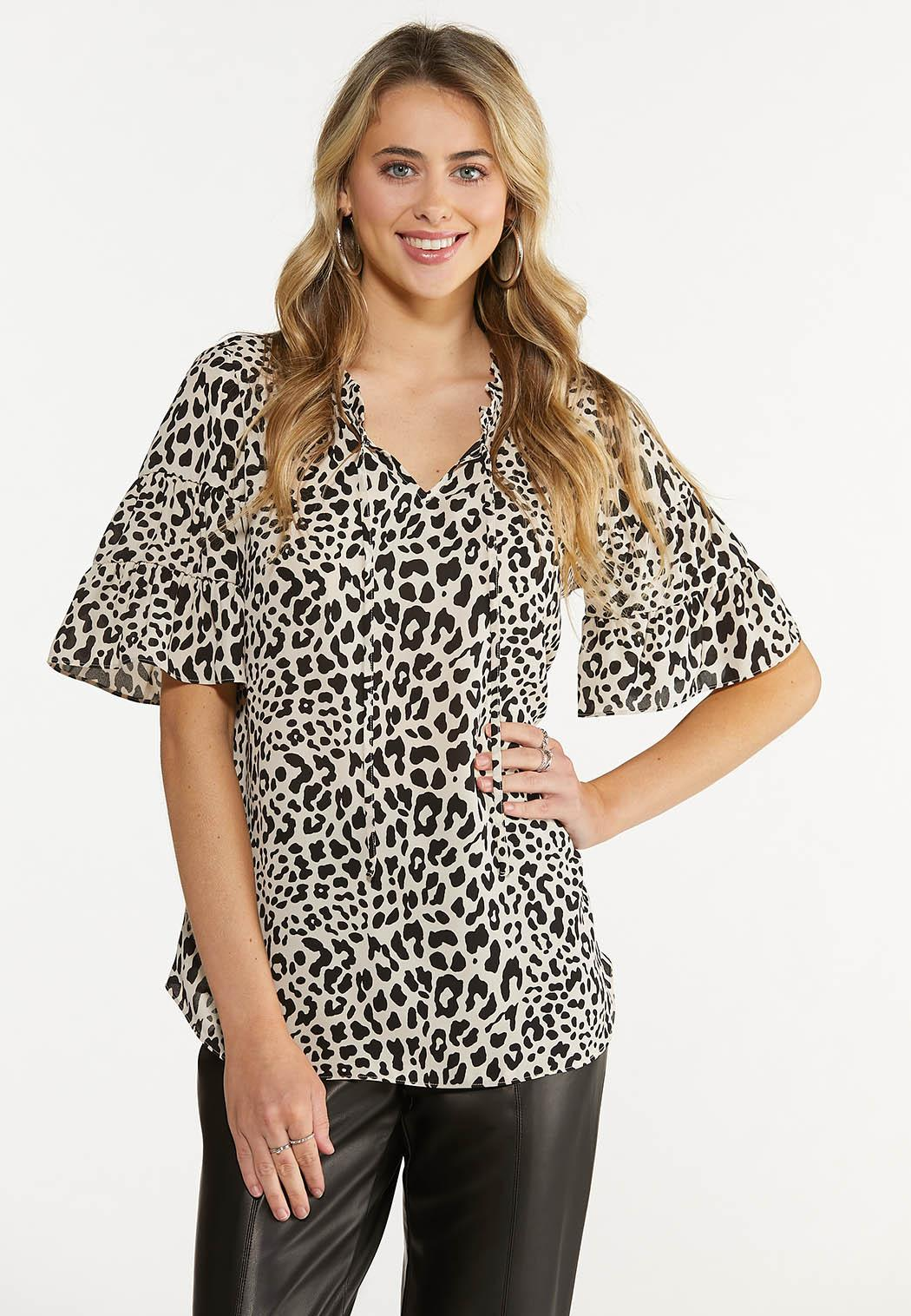 Plus Size Leopard Tiered Sleeve Top
