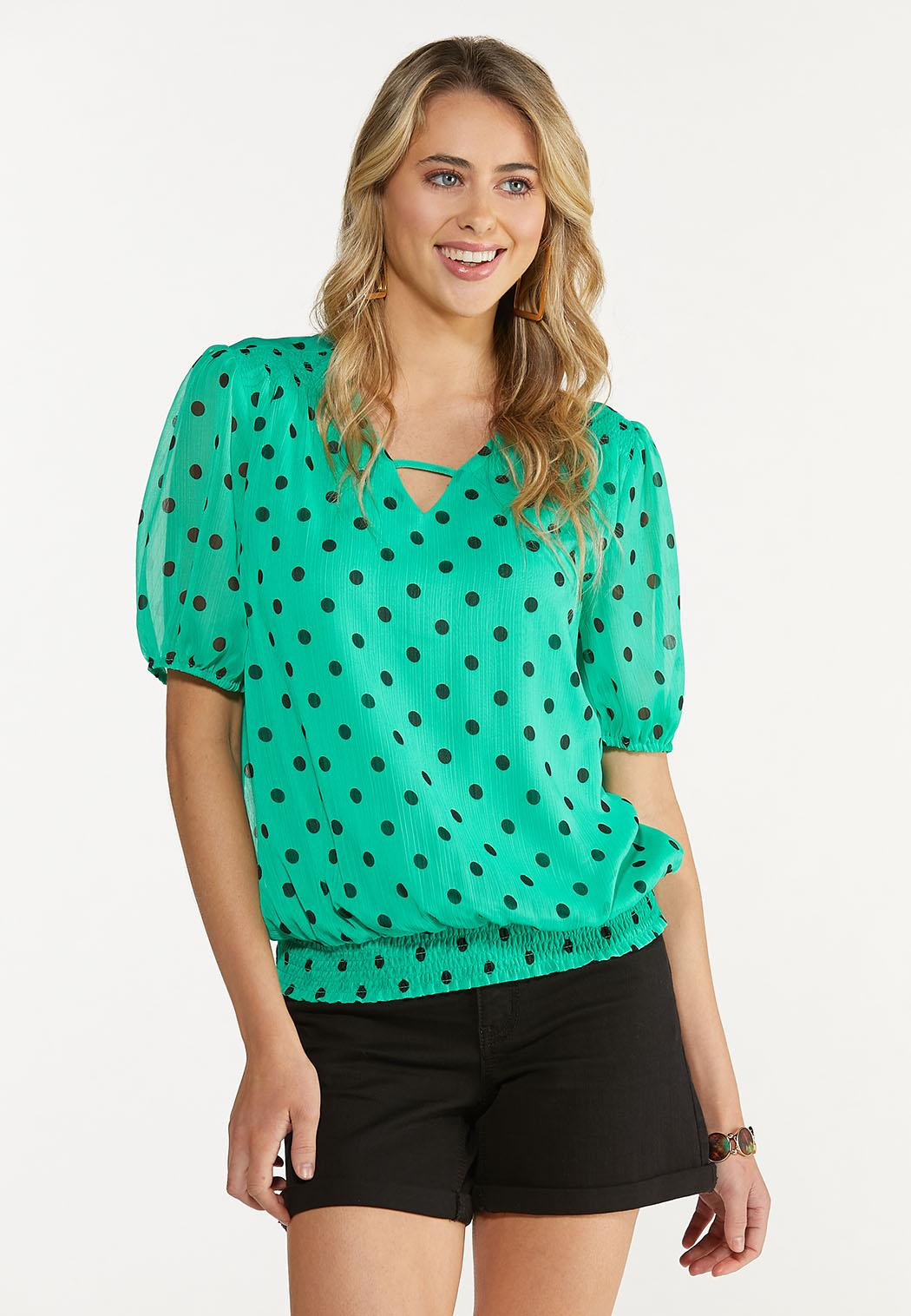 Dotted Smocked Top