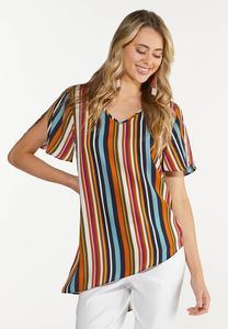 Plus Size Autumn Stripe Top